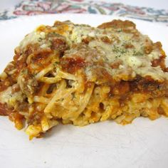 Baked Cream Cheese Spaghetti Casserole-changed out while wheat lc pasta, add spinach, served with salad..