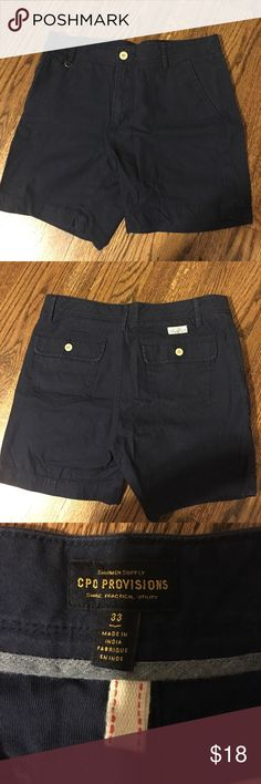 Urban Outfitters Men's Navy Shorts Men's size 33 navy shorts from Urban Outfitters (brand is CPO Provisions). Only worn a handful of times, so they're in excellent shape! Urban Outfitters Shorts Flat Front