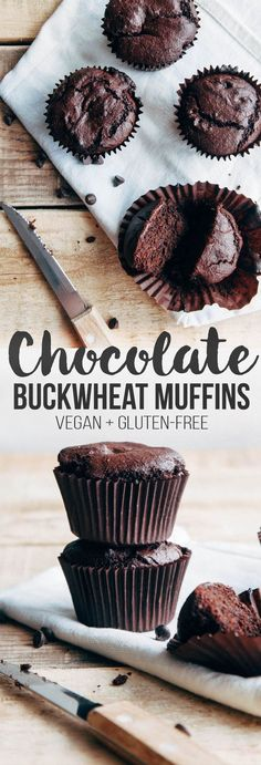 Double Chocolate Buckwheat Muffins Vegan + Gluten-free) Delicious, indulgent double chocolate muffins made from wholesome buckwheat and almond flour! Chocolate Muffins, Vegan Chocolate, Chocolate Recipes, Vegan Fudge, Buckwheat Muffins, Buckwheat Recipes, Buckwheat Cake, Gluten Free Baking, Vegan Gluten Free