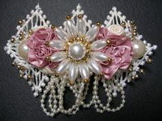 Elegant Dressy Ivory Dark Pink Pearl Victorian by HareBizBows