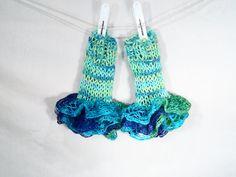 Rainbow Ruffles.......Fingerless Gloves Aqua by nouveauvintageltd, $16.90