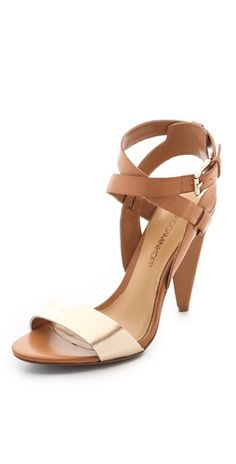 Classic but sexy metallic and nude heels, $295 #rebeccaminkoff