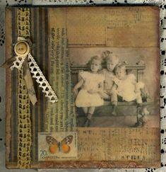 Encaustic, beeswax, mixed media collage on hardboard canvas. Three Of Us