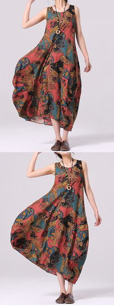 US$21.17 O-NEWE Vintage Printed Sleeveless Lantern Maxi Dress For Women