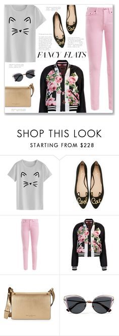 """""""Fancy Flats: Cool Cat"""" by kellylynne68 ❤ liked on Polyvore featuring Kate Spade, Acne Studios, Dolce&Gabbana, Donna Karan, Valentino, flats, cat, coolcat, chicflats and fancyflats"""