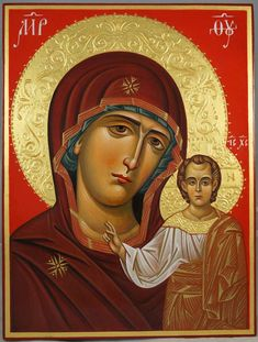 Kazanskaya Mother of God (Theotokos of Kazan) - This is a premium quality icon made with pure 23kt gold leaf. Painted using traditional technique - egg tempera, solid lime wood panel with slats on the back, varnish, 23 karat gold leaf. About our icons BlessedMart offers hand-painted religious icons that follow the Russian, Greek, Byzantine and Roman Catholic