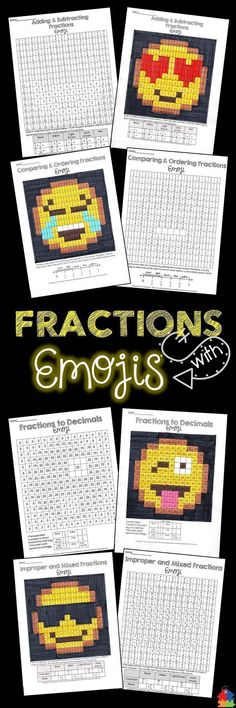 These Emoji fraction activities are perfect for a math center, whole group / early finisher assignment or even homework! Students will have a blast while reducing and simplifying, comparing and ordering, adding and subtracting, identifying simple fraction Fraction Activities, Math Resources, Math Activities, Math Games, Fraction Games, Fraction Art, Math Fractions, Adding Fractions, Ordering Fractions