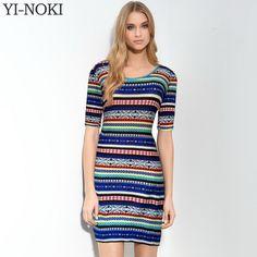 YI-NOKI Women Dress Bodycon Mini Dresses Geometric Summer Style Sexy Club Multicolor Vintage Print Backless Half Sleeve Dress