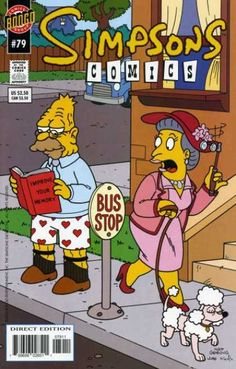 Abe Simpson in the boxer shorts, holding a book, at outside. A female person looks at him in shock.