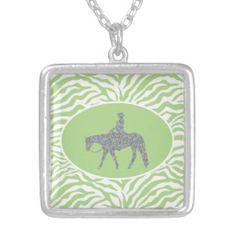 Western Pleasure Bling/Green Necklace #PleasureHorseJewelry #HorseShowing #HorsePendant