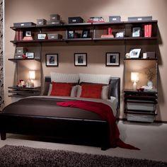 Howards Storage World | elfa Bedroom Wall Custom Unit Platinum