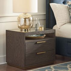 Astor Nightstand with shelf, metallic hardware, soft-close drawers, power strip, 2 USB ports & deep oak in 2 finishes. Plywood Furniture, Bedroom Furniture, Home Furniture, Furniture Design, Bedroom Decor, Urban Furniture, Bedroom Sets, Cheap Furniture, Luxury Furniture