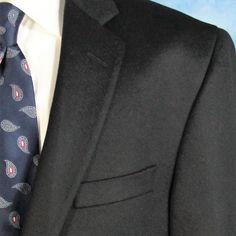 BLACK Saks Fifth Avenue 44L 100% Cashmere Dual Vents NAPOLICASH Jacket Blazer  #SaksFifthAvenue #TwoButton