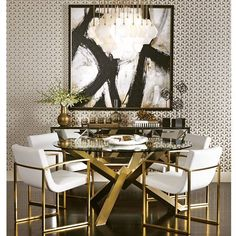 Looking for modern dining room ideas with furniture and decor? Explore our beautiful dining room ideas for interior design inspiration. Decoration Inspiration, Dining Room Inspiration, Interior Inspiration, Furniture Inspiration, Dining Room Design, Gold Dining Rooms, Dining Chairs, Dining Area, Mirror Dining Table