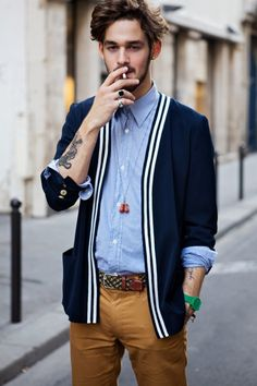 Preppy style - i love men with brown trousers. dunno why, but they really fit in them.