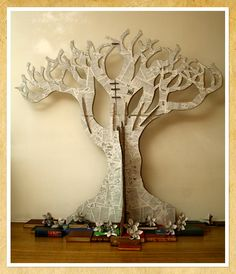 A tree from book pages and cardboard