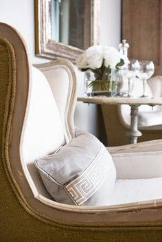 wingback w/ burlap + linen...this is exactly what i want in my living room to match my sofa.
