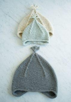 Вязаная шапка ушанка - 12