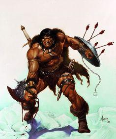 m Barbarian Sheild Axe Sword wilderness joe jusko - savage sword of conan Comic Book Characters, Fantasy Characters, Comic Books Art, Comic Art, Red Sonja, Fantasy Warrior, Conan The Barbarian Comic, Conan Der Barbar, The Lone Ranger