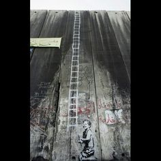 Banksy on the Israeli/Palestinian Wall, anti-apartheid