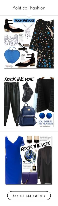 """""""Political Fashion"""" by yours-styling-best-friend ❤ liked on Polyvore featuring Alice + Olivia, Kate Spade, Marc by Marc Jacobs, Silver, jewelry, rockthevote, revekarose, Matthew Williamson, Joseph Ribkoff and Christian Louboutin"""