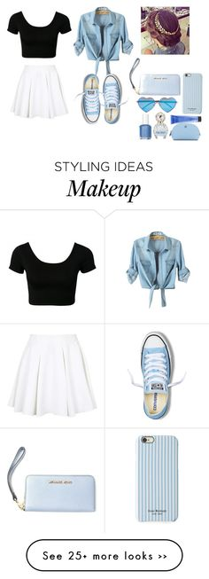"""blue"" by erin-fashion-jane on Polyvore featuring Isaac Mizrahi, Topshop, MICHAEL Michael Kors, Wildfox, Essie, Marc Jacobs, Tory Burch, Redken and Converse"
