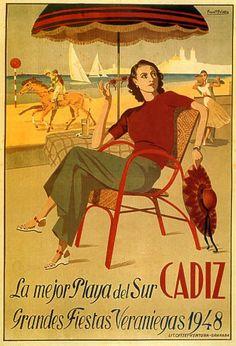 Greatvintageposters.com CADIZ SPAIN SUMMER PARTY BEACH #Vintage