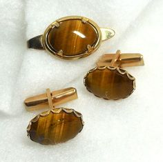 60's Tie Clip/Cuff Links Tigers Eye Stone Brown Gold Modern Atomic Mod Hip Father Groom sale by JewlsinBloom on Etsy