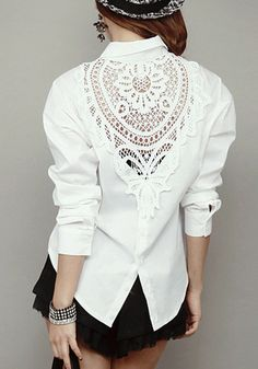 White Lace Panel Shirt - Lace Design At Back