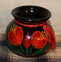 Small Black Hand Painted Vase  Ceramic  Vintage  by MuzettasWaltz, $6.00