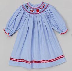 Santa's Clothesline Blue Gingham Long Sleeved Bishop
