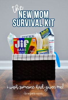 This is the perfect gift for new moms: a New Mom Survival Kit. I wish someone had given it to me when I had a new baby!