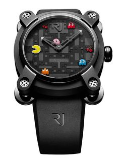 Pac-Man watch by Romain Jerome ~ featuring Pac-Man, the Ghosts (Blinky-red, Pinky-pink, Inky-blue, and Clyde-Orange) and a pair of extra point Cherries!