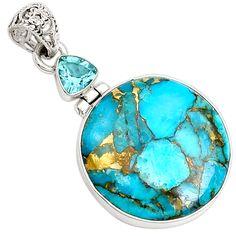 Copper Blue Arizona Turquoise 925 Sterling Silver Pendant Jewelry 8144P - JJDesignerJewelry