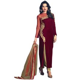 Exquisite Embroidered Red and Gold Designer Velvet Suit