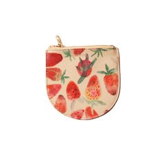 Mini Strawberry Print Leather Zipper Pouch