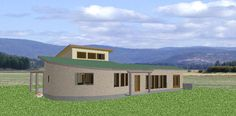 Bale Courtyard (Dream Green Homes) Living Area, Living Spaces, Mud Hut, Thermal Mass, Solar Car, Courtyard House Plans, Green Homes, Clerestory Windows, Concrete Slab