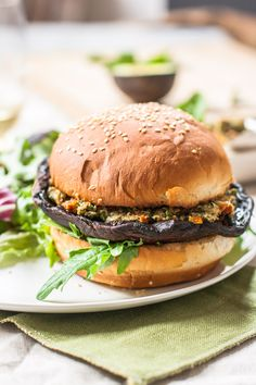Vegan Portabella Burgers with Sundried Tomato Pesto