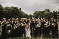 Wedding Party Wore All Black. and Let the Florals Speak for Themselves! - Green Wedding Shoes - Modern Rustic Colorado Wedding // Wedding Party in all black -This Wedding Party Wore All Black. and Let the Florals Spe. Black Bridesmaids, Black Bridesmaid Dresses, Bridesmaids And Groomsmen, Wedding Bridesmaids, Groomsmen Attire Black, Black Bridal Parties, Bridal Party Shoes, Wedding Parties, Fall Wedding