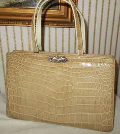 Stunning huge vintage French blond alligator /crocodile handbag 1950's by VintageHandbagDreams on Etsy
