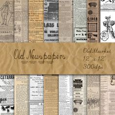 Old Newspapers Digital Paper - Old Paper Textures - 16 Designs - 12in x 12in - Commercial Use - INSTANT DOWNLOAD