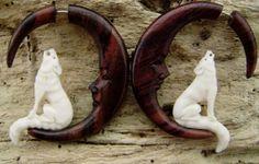 Fake gauge earrings - Bone Split Gauge tribal syle hand made organic naturally fake piercings call of the wild wolf with moon on Wanelo
