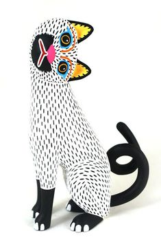 "An alebrije by Oaxacan wood carving master Luis Pablo, ""Snow White Cat. Atelier Theme, Sculpture Art, Sculptures, Frida Art, Illustration Art, Illustrations, Mexican Folk Art, Art Plastique, Cat Art"