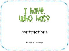 i have who has contractions freebie