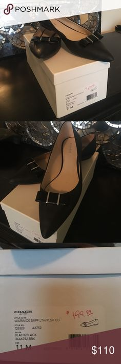 Coach size 11 black flats Coach size 11 black flats with black bows.  Shoes are in great shape worn a few times so bottoms show wear on them.  They fit a size 11 foot very comfortably Coach Shoes Flats & Loafers