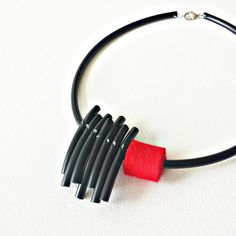 Red statement necklace Rubber pvc necklace Black by PevalekArt