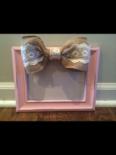 5x7 Baby Pink Shabby Chic Burlap Lace Bow by TheYellowPorch  Too cute for a baby shower or displayed in a nursery