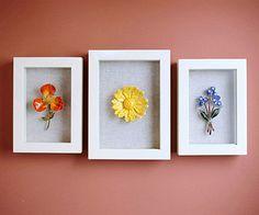 Easy Artwork from framed flower brooches