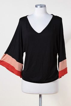 Colorblock Wide Sleeve Knit Top  Freckles Boutique