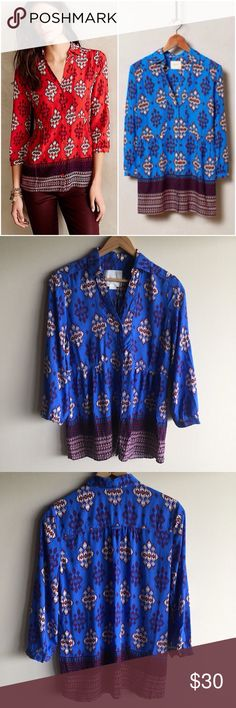 """Anthropologie Woodland Walk buttondown in blue Gorgeous shirt by Maeve in machine washable rayon. Hangs beautifully! Measures 18.5"""" from underarm to underarm and 26"""" long. Great condition, no stains or holes. Anthropologie Tops Button Down Shirts"""